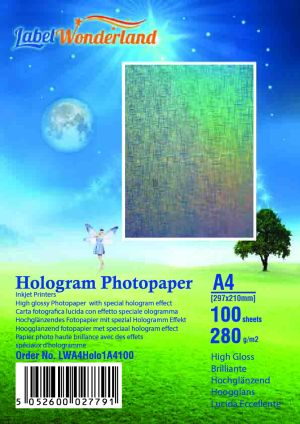 Photo paper with glossy hologram effects